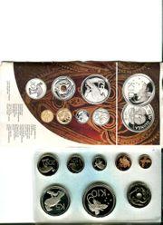 Unberührte Münzenserie 7 Münzen eingeschweißt