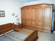 Schlafzimmer Eiche Massiv Schrank - Doppelbett -
