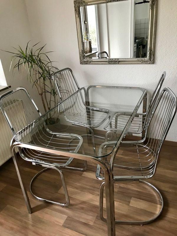 Moderne DESIGN Swing Esstisch Stühle In Draht Optik