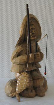Ganz tolle voll Holzfigur Angler