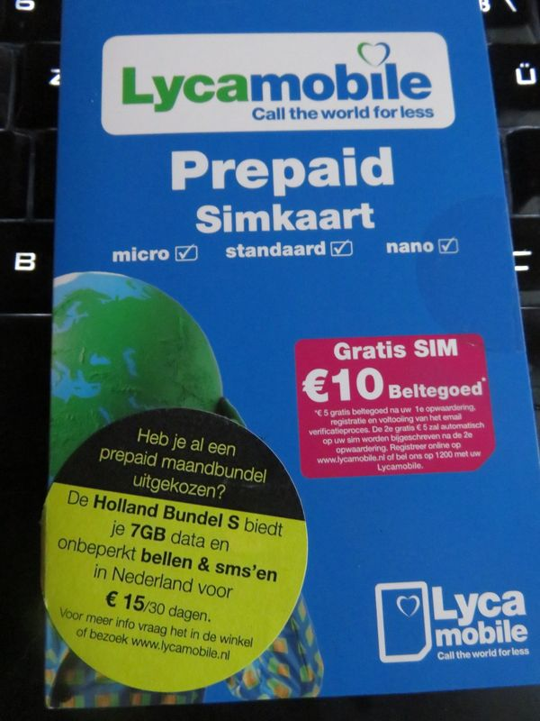 Prepaid SIM Karte Lycamobile aktiv