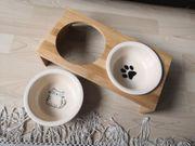 Futternapf Katze Hund mit Bambus