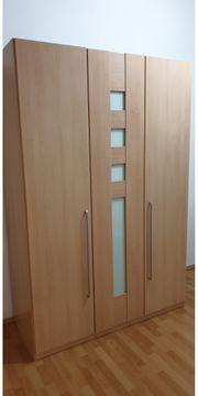 Kleiderschrank 3-türig Buchedekor mit Mint-Glas-Inlays