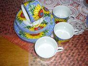 Schönes Kaffee-Service-Sonnenblumen-Motiv-12 tlg -NUR 5 -