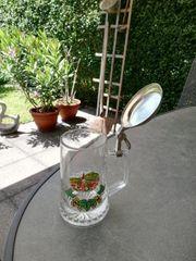 Bierkrug Glas mit Zinndeckel