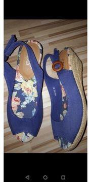 Sandalen Keilabsatz blau Gr 36