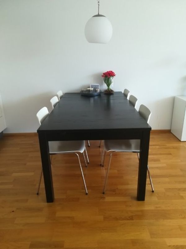 Esstisch Holz schwarz ausziehbar inkl