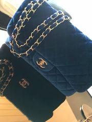 Chanel Style Samt Tasche Blau