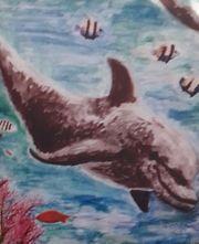 Schöne Grafik auf Leinwand Delfin