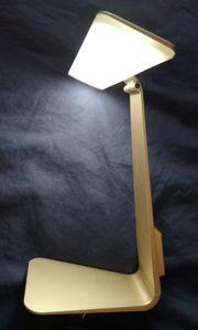 leichte Akku-LED-Leuchte goldfarben Büroleuchte Tischleuchte