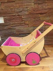 Puppenwagen Holz mit Kissen und
