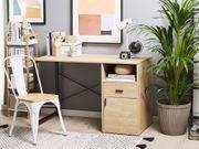 Schreibtisch heller Holzfarbton schwarz 120