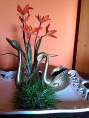 Schwan 2x Blumen Übertopf massiv
