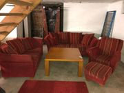 Sitzgarnitur mit Tisch aus Pinienholz