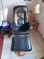 Echtleder Sessel mit Fußhocker