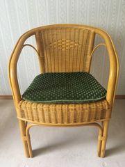 Korbstuhl Korbsessel inkl Sitzkissen Stuhl