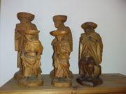 3 geschnitzte Holzfiguren