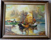 Ölgemälde auf Holz Fischerboote Seegelboote