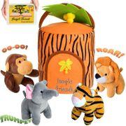 Plüsch Dschungeltiere-Spielzeugset mit Träger - Babys