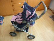 Kinderpuppenwagen blau-rosa sehr guter Zustand