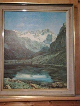 Landschaftsbild Bergsee mit Rahmen 48: Kleinanzeigen aus Südharz - Rubrik Kunst, Gemälde, Plastik