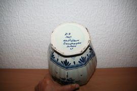 Glas, Porzellan antiquarisch - Deckelvase Delfter Blau