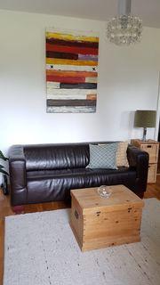 Echt Leder Sofa Schwarz-Braun
