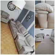 Ledercouch Sofa 2 Sessel von