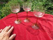 3 super alte Weingläser