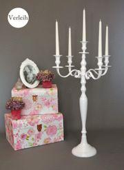 5-armig Kerzenleuchter in weiß mieten