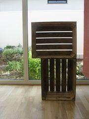 Geflammte Holz Kisten neuwertig noch