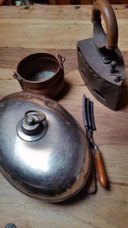 Konvolut Antikes Wärmflasche Brennschere Bügeleisen