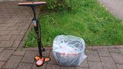 Standluftpumpe und Fahrradkorb für Lenker