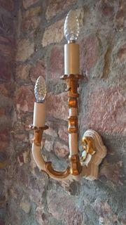 Jugendstil Wandleuchte Wandlampe Holz Goldbesatz