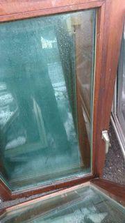3 zweiflügige Holzfenster mit Panzerglas