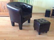 Neuer Lounge-Sessel mit Hocker dunkelbraun
