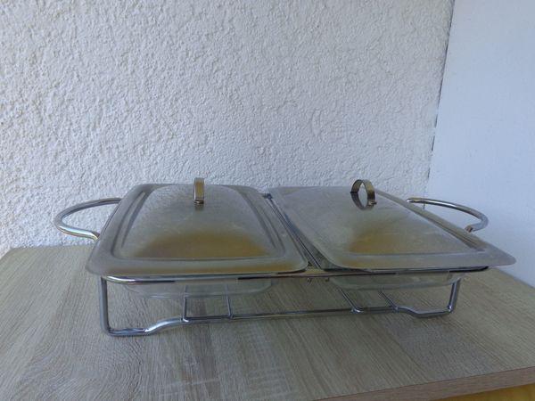 Speisewärmer mit 2 Glas-Einsätzen + Delstahldeckel