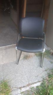 Stuhl Leder schwarz
