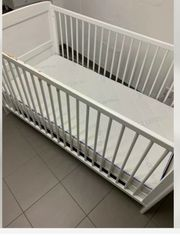 Kinderbett Gitter Kiefer weiß weiches