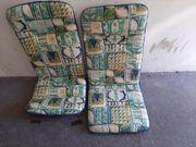 2 Gartenstuhlsitzkissen blau gelb