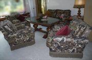 Wohnzimmer-Sitzgarnitur 70er Style Brokat mit