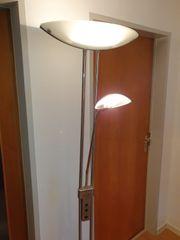 Stehlampe aus gebürstetem Edelstahl Deckenfluter