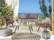 Gartenmöbel Set Rattan beige 4-Sitzer