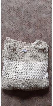 Strick-Woll Pullover beige Größe 42