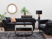 Sofa Set Samtstoff schwarz 4-Sitzer