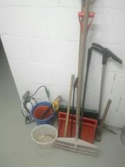 3 Schneeschaufel Gartensachen Gartenschlauch Sägen