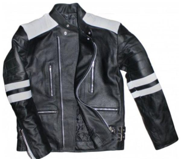 Oldschool Retro Motorradjacke Lederjacke schwarz