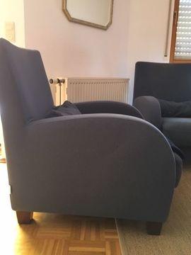 Polster, Sessel, Couch - 2 blaue Ligne Roset Sessel