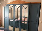 Schlafzimmerschrank Landhausstil Pinienholz blau-natur