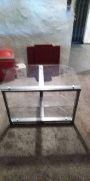 TV Hifi DVD Glastisch Silber -